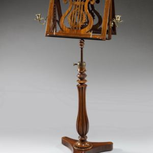 ANTIQUE ROSEWOOD DUET STAND WITH CANDLE HOLDERS