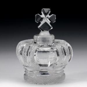 ANTIQUE CUT GLASS CROWN SHAPED SCENT BOTTLE