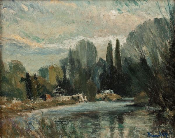RONALD OSSORY DUNLOP-OIL PAINTING-THAMES WEYBRIDGE