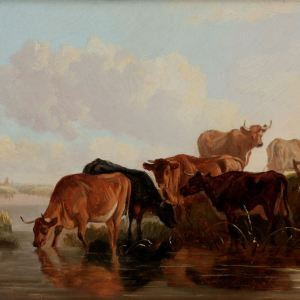 THOMAS SIDNEY COOPER-OIL SKETCH-CATTLE CANTERBURY MEADOWS