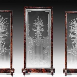 ANTIQUE GROUP OF 3 FRENCH GLASS SCREENS ETCHED WITH FLOWERS