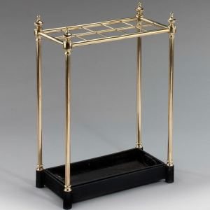 ANTIQUE RECTANGULAR BRASS STICK STAND WITH TEN DIVISIONS