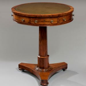 ANTIQUE REGENCY SMALL ROSEWOOD DRUM TABLE
