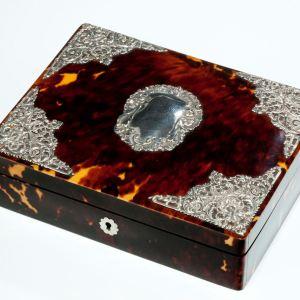 ANTIQUE TORTOISESHELL AND SILVER JEWELLERY BOX