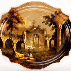 ANTIQUE PAPIER MACHE TRAY WITH PAINTED SCENE