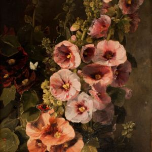 JAMES HOLLAND-OIL PAINTING-HOLLYHOCKS