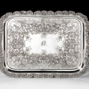 ANTIQUE LARGE ENGRAVED RECTANGULAR SILVER PLATED TRAY