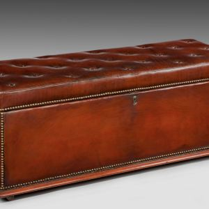 ANTIQUE BUTTONED LEATHER OTTOMAN