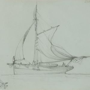 EDWARD DUNCAN-PENCIL DRAWING-CUTTER SHIP