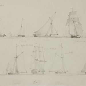 EDWARD DUNCAN-PENCIL DRAWINGS-SHIPS UNDER WIND