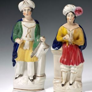 ANTIQUE STAFFORDSHIRE THEATRICAL FIGURES BOY & GIRL