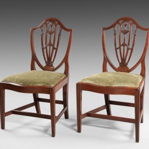 ANTIQUE PAIR GEORGE III CARVED MAHOGANY SHIELD BACK CHAIRS