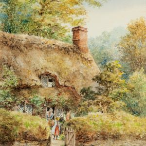 E.A. SWAN-WATERCOLOUR PAINTING-COTTAGE SCENE