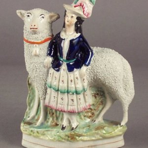 ANTIQUE STAFFORDSHIRE FIGURE OF YOUNG GIRL & SHEEP