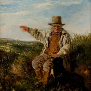 HEYWOOD HARDY-OIL PAINTING-MAN & DOG