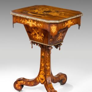 ANTIQUE MARQUETRY LADY'S WORK TABLE BY J. M. LEVIEN