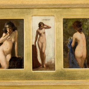 ALLAN DOUGLAS DAVIDSON-OIL PAINTING-THREE FEMALE NUDES