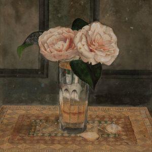 ARTHUR F.E GRIMSHAW-WATERCOLOUR-STILL LIFE ROSES
