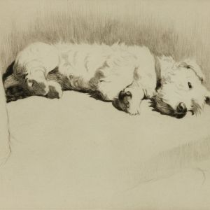 CECIL ALDIN-ETCHING-A WELL EARNED REST