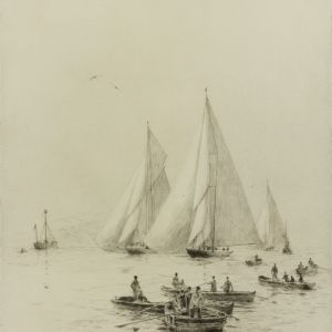 ROWLAND LANGMAID-ETCHING-YACHTING IN THE SOLENT