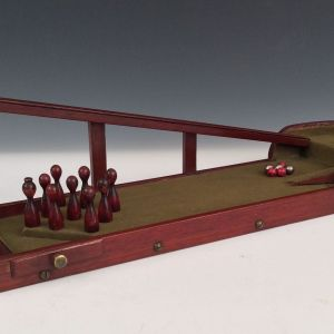 ANTIQUE PORTABLE MINIATURE SKITTLE ALLEY GAME