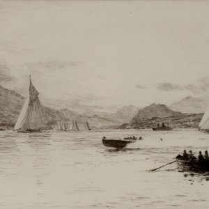 WILLIAM LIONEL WYLLIE-ETCHING-YACHTING ON LOCH LONG
