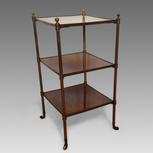 ANTIQUE MAHOGANY AND BRASS THREE TIER ETAGERE