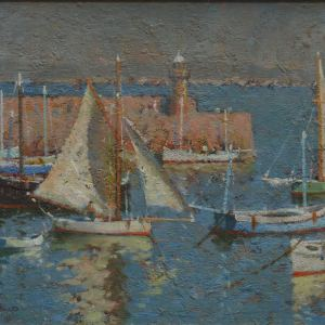 ARTHUR HAYWARD OIL PAINTING MARINE HARBOUR ST IVES