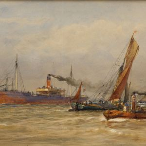ARTHUR WILDE PARSONS WATERCOLOUR SHIPPING RIVER THAMES