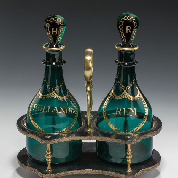ANTIQUE PAIR OF MALLET SHAPED BRISTOL GREEN DECANTERS