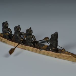 ANTIQUE BRONZE OF FOUR CATS IN A ROWING SKIFF