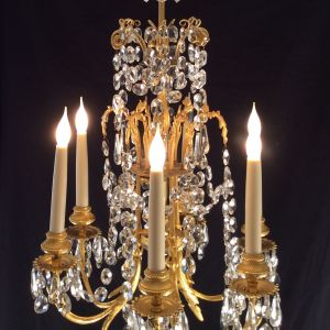 ANTIQUE ORMOLU SIX LIGHT CHANDELIER