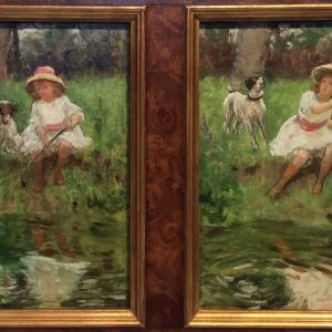 CHARLES DANIEL WARD OIL PAINTING CHILDREN DOGS
