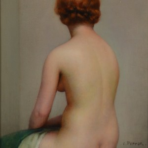 CHARLES PERRON OIL PAINTING FEMALE NUDE