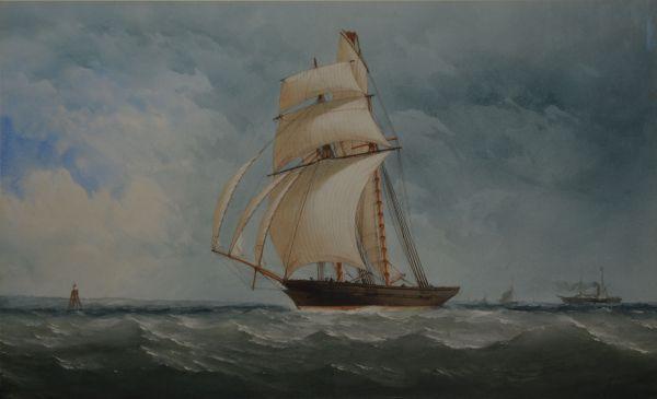 CHARLES TAYLOR WATERCOLOUR MARINE SCHOONER SHIP