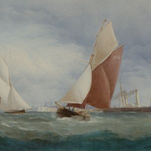 CHARLES TAYLOR WATERCOLOUR MARINE SHIPPING PORTSMOUTH HARBOUR