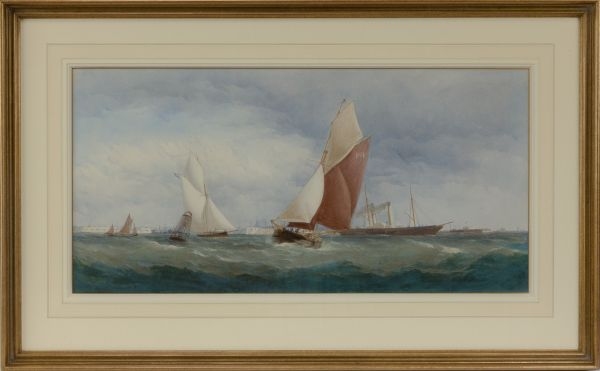 Charles-Taylor-watercolour-marine-shipping-Portsmouth-harbour-antique-5384_1_5384