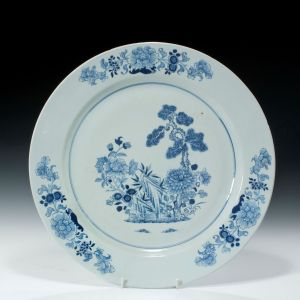 QING DYNASTY EXPORT BLUE AND WHITE CHARGER