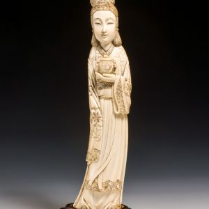 ANTIQUE CHINESE CARVED IVORY TUSK OF GUANYIN