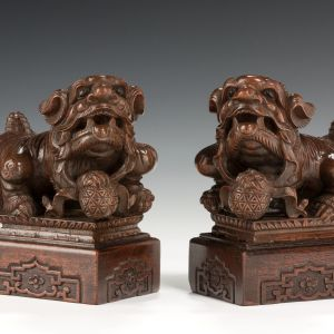 ANTIQUE PAIR OF WOODEN CHINESE GUARDIAN LIONS