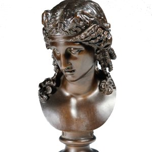 ANTIQUE BARBEDIENNE BRONZE BUST OF A YOUNG GIRL