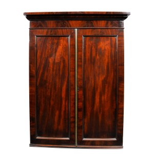 ANTIQUE REGENCY MAHOGANY AND MAPLE HANGING CUPBOARD