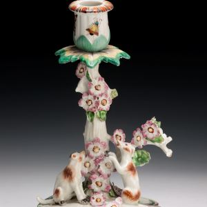 ANTIQUE DERBY PORCELAIN CANDLESTICK WITH TWO DOGS