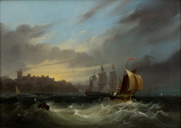 FREDERICK CALVERT-OIL PAINTING-SHIPPING IN SOLENT