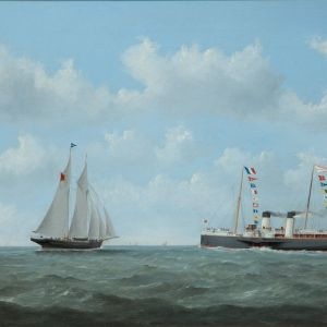 GEORGE MEARS-OIL PAINTING-NORMANDY STEAM SHIP
