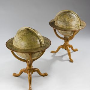 RARE ANTIQUE PAIR OF 12 INCH GLOBES BY NEWTON