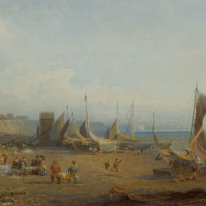 HENRY GEORGE HINE WATERCOLOUR MARINE BEACH BRIGHTON