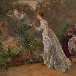 HENRY TOWNELEY GREEN WATERCOLOUR PAINTING GARDEN WOMAN CHILDREN