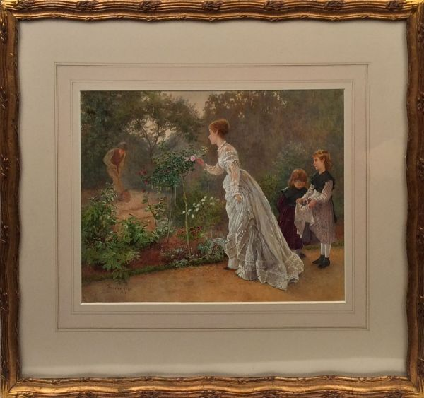 Henry-Towneley-Green-watercolour-lady-gathering-flowers-antique-5667_1_5667