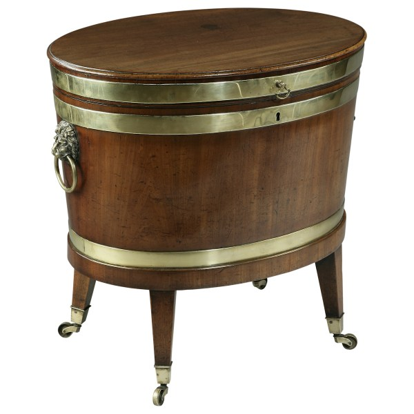 ANTIQUE OVAL MAHOGANY & BRASS BOUND WINE COOLER